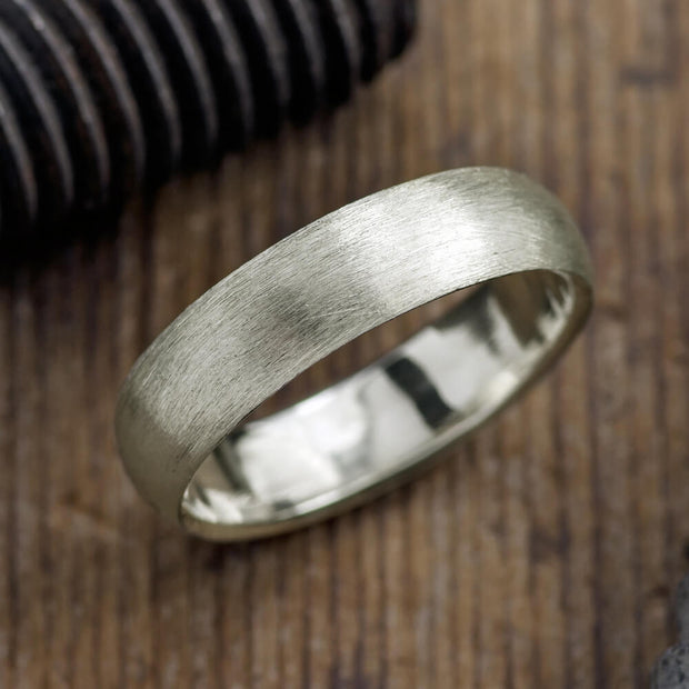 6mm 14k White Gold Mens Wedding Band, Half Round Matte - Point No Point Studio - 1