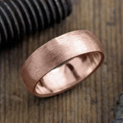 8mm 14k Rose Gold Mens Wedding Band, Half Round Matte - Point No Point Studio - 1