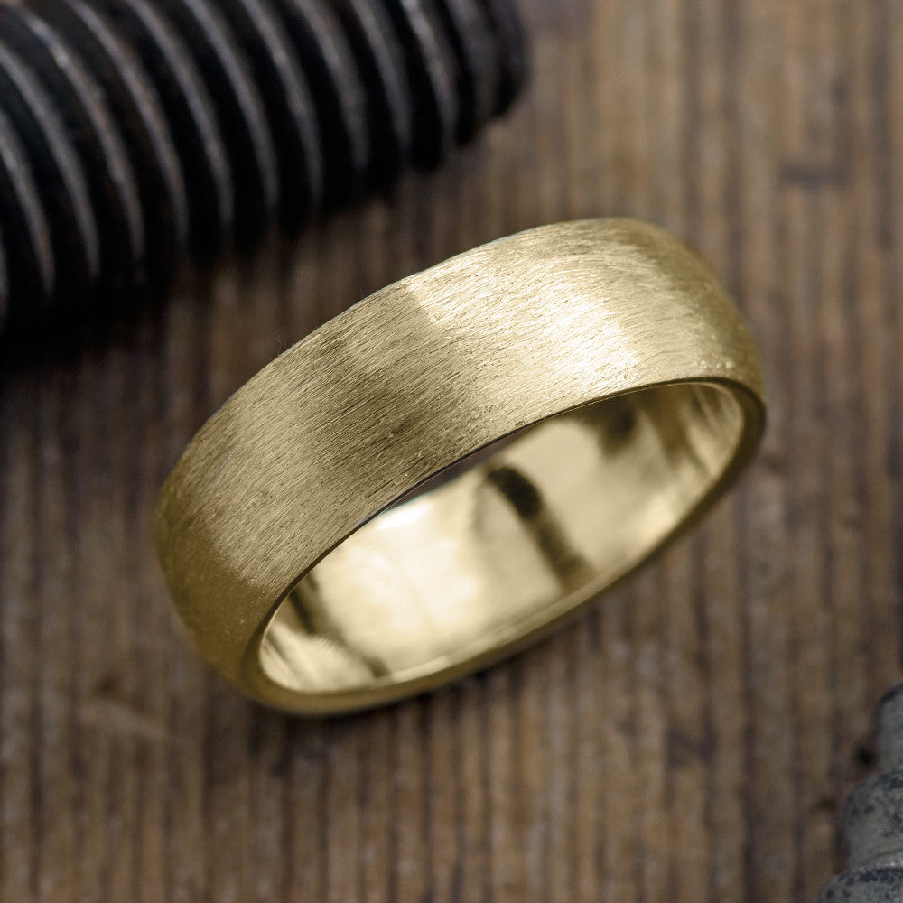 It is just a picture of 40mm Yellow Gold Mens Comfort Fit Wedding Band, Half Round Matte Finish