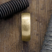 8mm 14k Yellow Gold Mens Wedding Band, Half Round Matte - Point No Point Studio - 2