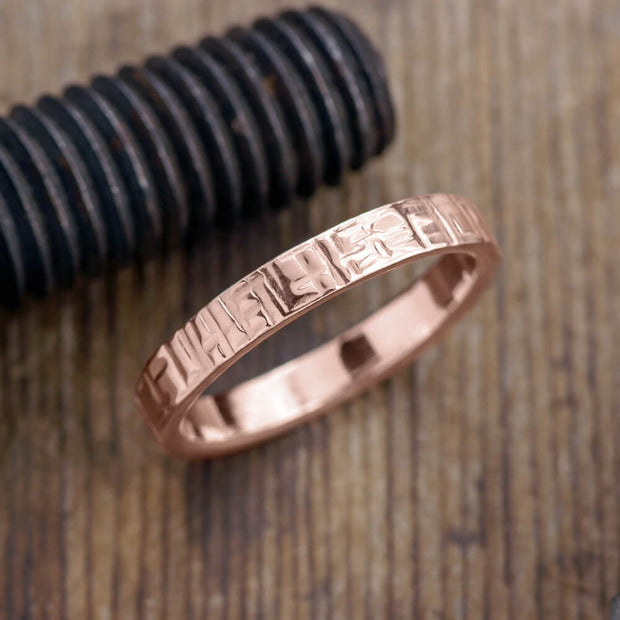 4mm 14k Rose Gold Mens Wedding Band, Textured Polished - Point No Point Studio - 1