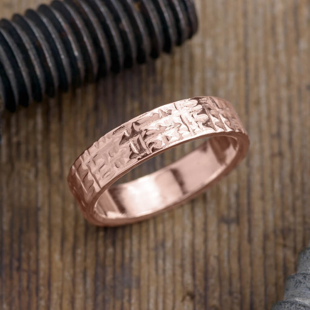6mm 14k Rose Gold Mens Wedding Band, Textured Polished - Point No Point Studio - 1