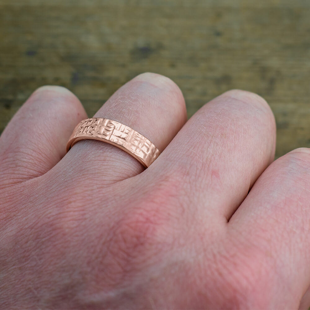 6mm 14k Rose Gold Mens Wedding Band, Textured Polished - Point No Point Studio - 4