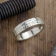 6mm 14k White Gold Mens Wedding Band, Textured Polished - Point No Point Studio - 1