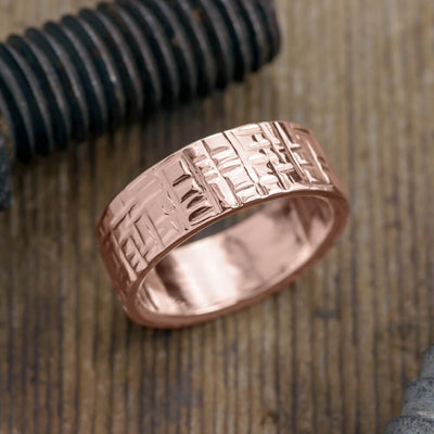 8mm 14k Rose Gold Mens Wedding Band, Textured Polished - Point No Point Studio - 1