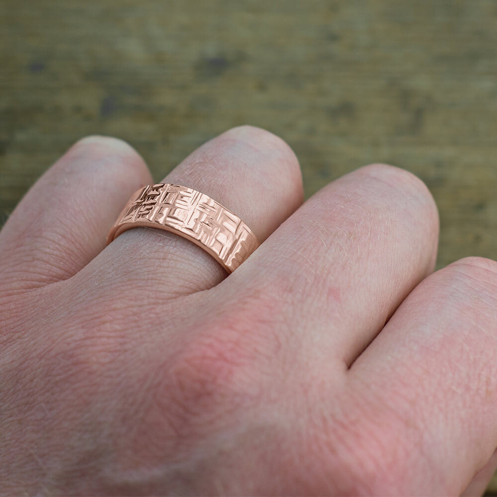 8mm 14k Rose Gold Mens Wedding Band, Textured Polished - Point No Point Studio - 4
