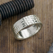 Copy of 8mm 14k White Gold Mens Wedding Band, Textured Matte - Point No Point Studio - 1