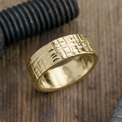 8mm 14k Yellow Gold Mens Wedding Band, Textured Polished - Point No Point Studio - 1