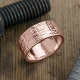 10mm 14k Rose Gold Mens Wedding Band, Textured Polished - Point No Point Studio - 1