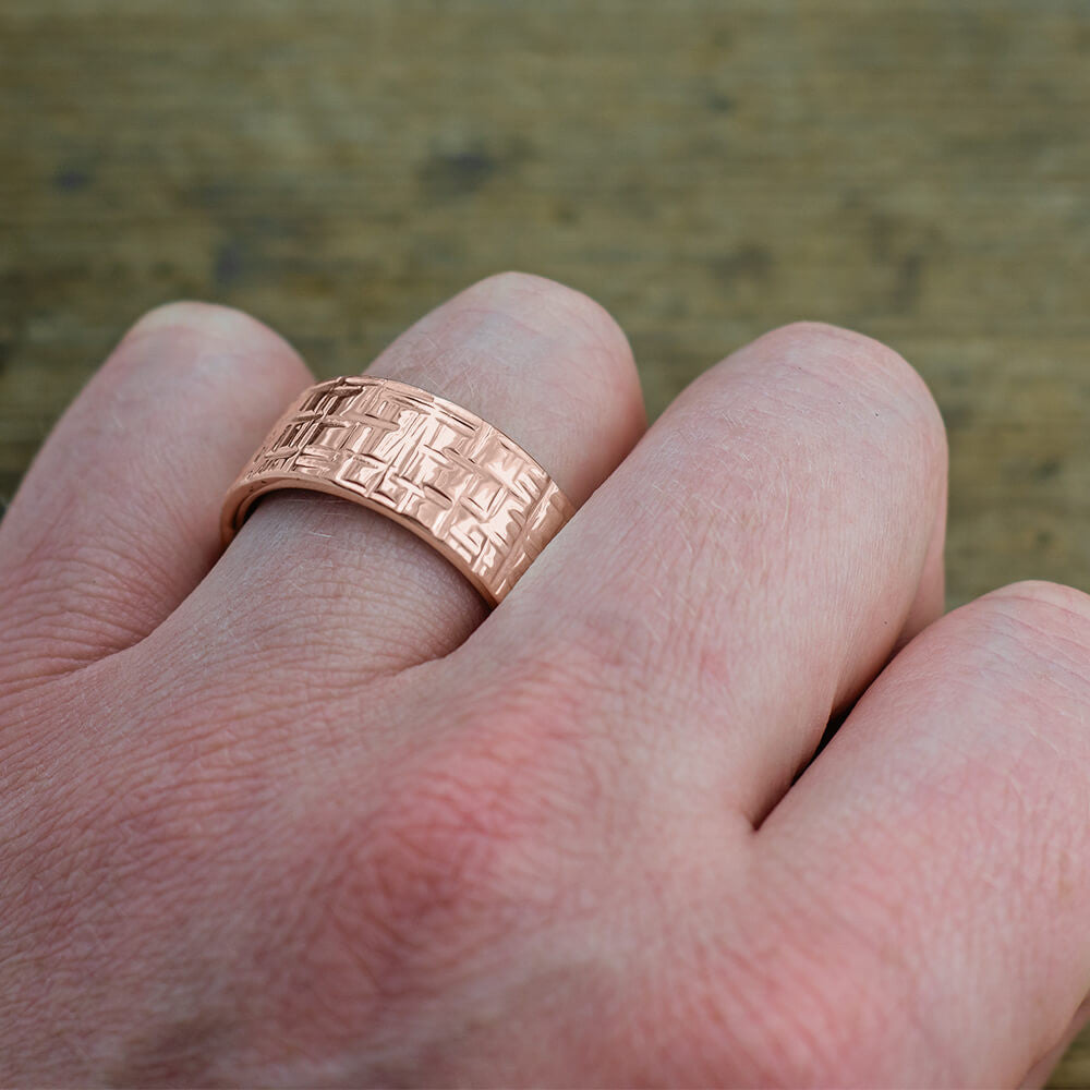 10mm 14k Rose Gold Mens Wedding Band, Textured Polished - Point No Point Studio - 4