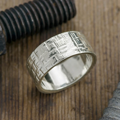 10mm 14k White Gold Mens Wedding Band, Textured Polished - Point No Point Studio - 1