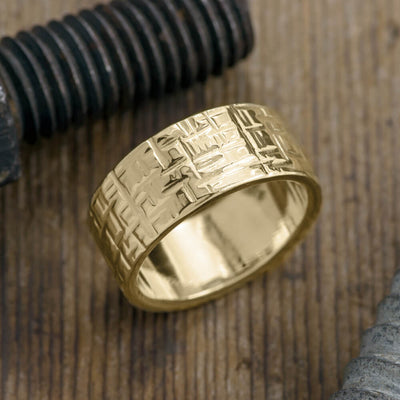 10mm 14k Yellow Gold Mens Wedding Band, Textured Polished - Point No Point Studio - 1