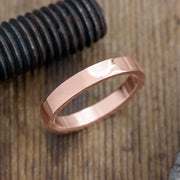 4mm 14k Rose Gold Mens Wedding Ring, Polished - Point No Point Studio - 1