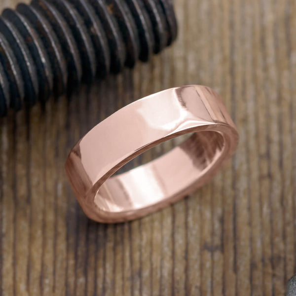6mm 14k Rose Gold Mens Wedding Band, Polished - Point No Point Studio - 1
