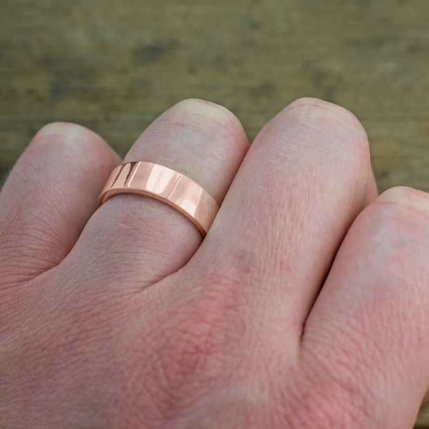 6mm 14k Rose Gold Mens Wedding Band, Polished - Point No Point Studio - 4