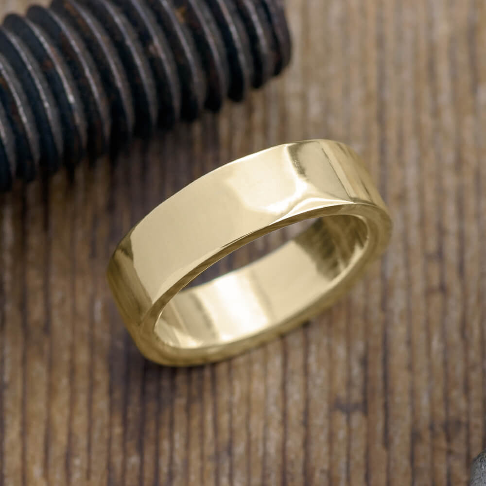 6mm 14k Yellow Gold Mens Wedding Band, Polished - Point No Point Studio - 1