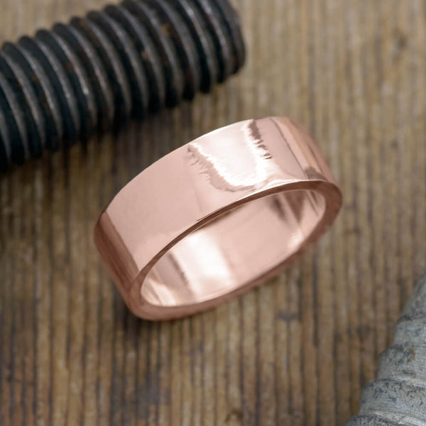 8mm 14K Rose Gold Mens Wedding Ring, Polished - Point No Point Studio - 1