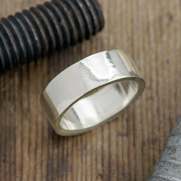 8mm 14k White Gold Mens Wedding Band, Polished - Point No Point Studio - 1