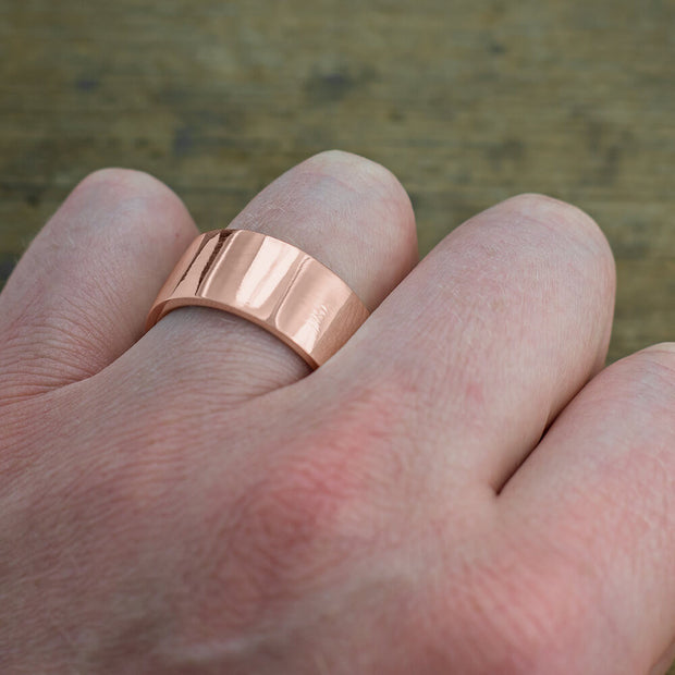 10mm 14k Rose Gold Mens Wedding Ring, Polished - Point No Point Studio - 4