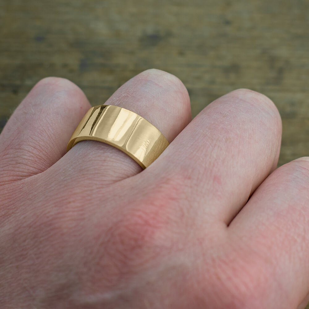 10mm 14k Yellow Gold Mens Wedding Ring, Polished - Point No Point Studio - 4