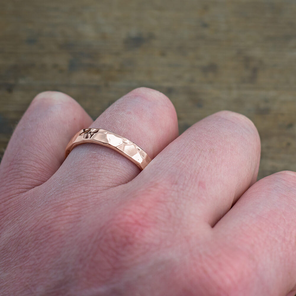 4mm 14k Rose Gold Mens Wedding Band, Hammered Polished - Point No Point Studio - 4