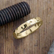 Copy of 4mm 14k Yellow Gold Mens Wedding Ring, Hammered Matte - Point No Point Studio - 1