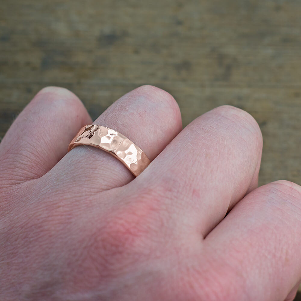 6mm 14k Rose Gold Mens Wedding Band, Hammered Polished - Point No Point Studio - 4