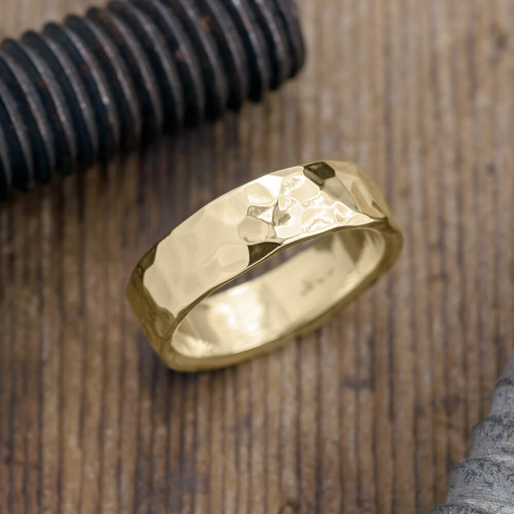 Mens Wedding Band.6mm 14k Yellow Gold Mens Wedding Band Hammered Polished