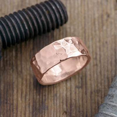 8mm 14k Rose Gold Mens Wedding Band, Hammered Polished - Point No Point Studio - 1