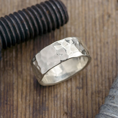 Copy of 8mm 14k White Gold Mens Wedding Band, Hammered Matte - Point No Point Studio - 1
