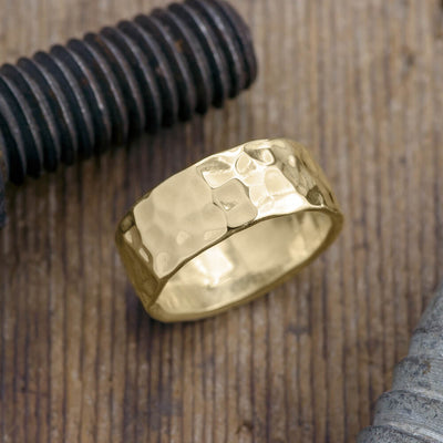 Copy of 8mm 14k Yellow Gold Mens Wedding Band, Hammered Matte - Point No Point Studio - 1