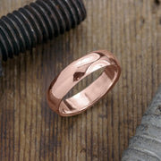 6mm 14k Rose Gold Mens Wedding Band, Half Round Polished - Point No Point Studio - 1