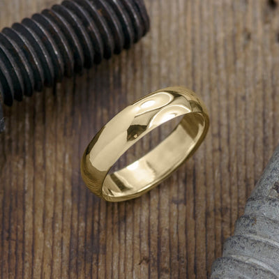 6mm 14k Yellow Gold Mens Wedding Band, Half Round Polished - Point No Point Studio - 1