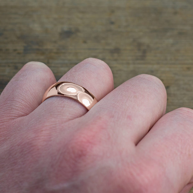 8mm 14k Rose Gold Mens Wedding Band, Half Round Polished - Point No Point Studio - 4