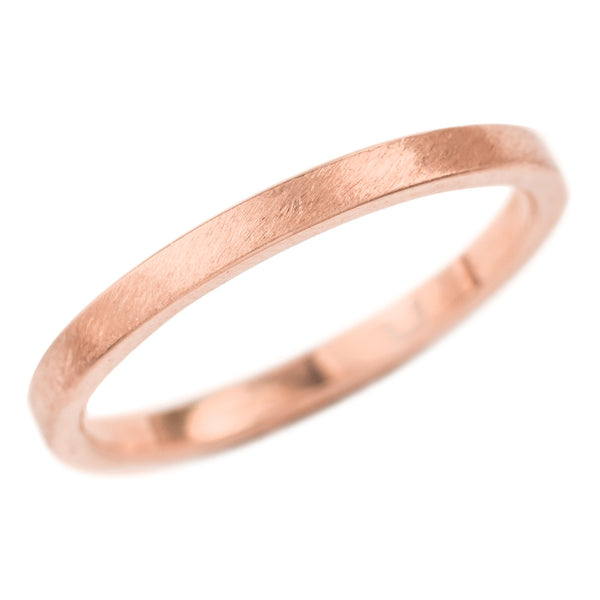 2mm Wide x 1.5mm Thick,14k Rose Gold Rectagle Wedding Band, Matte - Point No Point Studio - 1