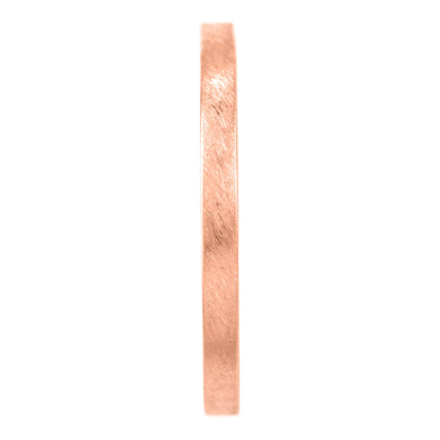 2mm Wide x 1.5mm Thick,14k Rose Gold Rectagle Wedding Band, Matte - Point No Point Studio - 2