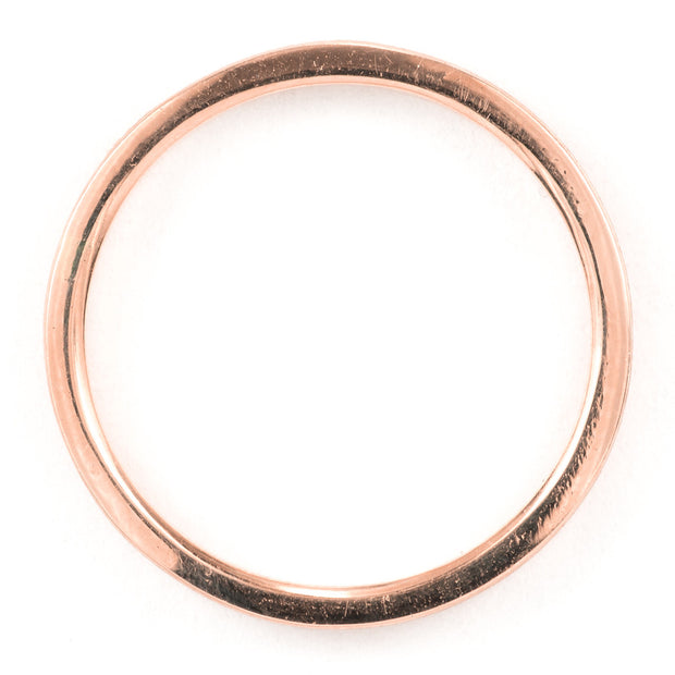 2mm Wide x 1.5mm Thick,14k Rose Gold Rectagle Wedding Band, Matte - Point No Point Studio - 3