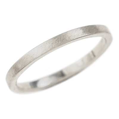 2mm Wide x 1.5 mm Thick,14k White Gold Rectangle Wedding Band, Matte - Point No Point Studio - 1