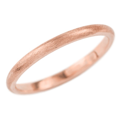 2mm Wide x 1.5mm Thick, 14k Rose Gold Half Round Wedding Band, Matte - Point No Point Studio - 1