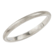 2mm Wide x 1.5 mm Thick, 14k White Gold Half Round Wedding Band, Matte - Point No Point Studio - 1