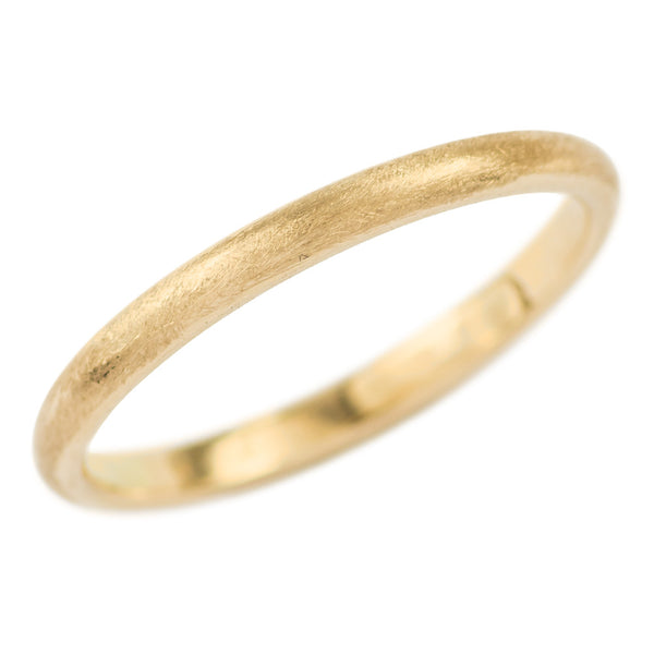 2mm Wide x 1.5mm Thick, 14k Yellow Gold Half Round Wedding Band, Matte - Point No Point Studio - 1