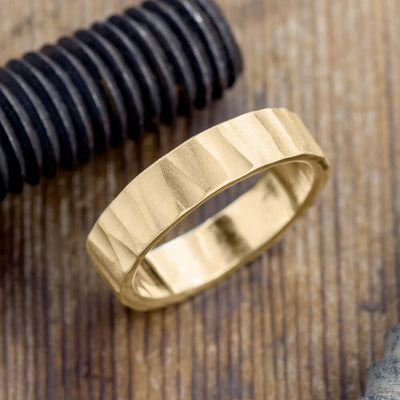 Copy of 6mm 14k Yellow Gold Mens Wedding Band, Hammered Matte - Point No Point Studio - 1