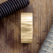 10mm 14k Yellow Gold Mens Wedding Band, Wood Grain Matte - Point No Point Studio - 2