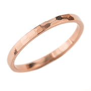 2mm Wide x 1.5mm Thick,14k Rose Gold Rectangle Wedding Band, Hammered Polished - Point No Point Studio - 1