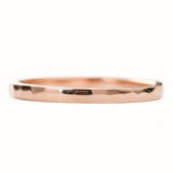 2mm Wide x 1.5mm Thick,14k Rose Gold Rectangle Wedding Band, Hammered Polished - Point No Point Studio - 3