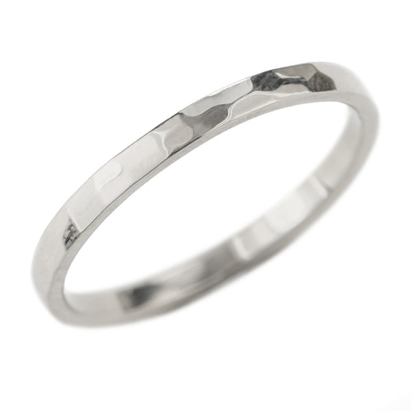 2mm Wide x 1.5 mm Thick,14k White Gold Rectangle Wedding Band, Hammered Polished - Point No Point Studio - 1