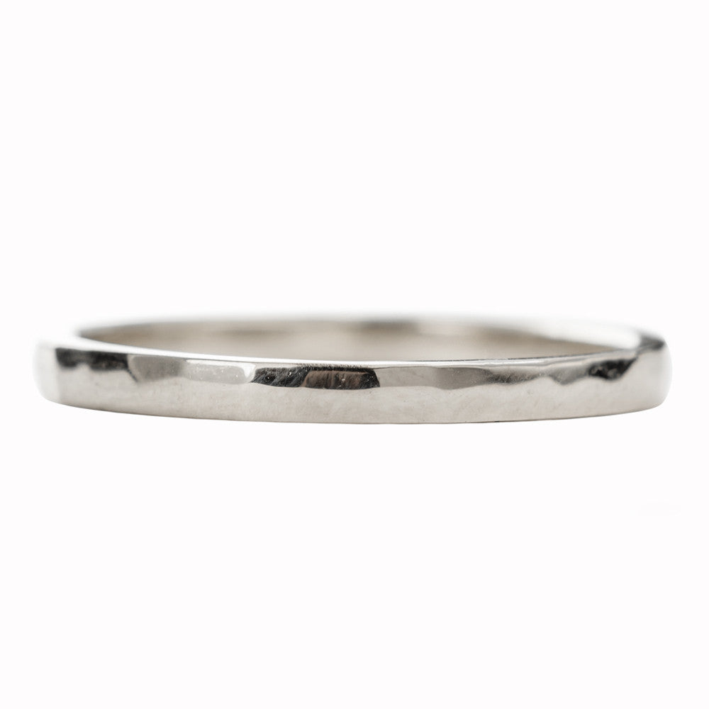 2mm Wide x 1.5 mm Thick,14k White Gold Rectangle Wedding Band, Hammered Polished - Point No Point Studio - 3