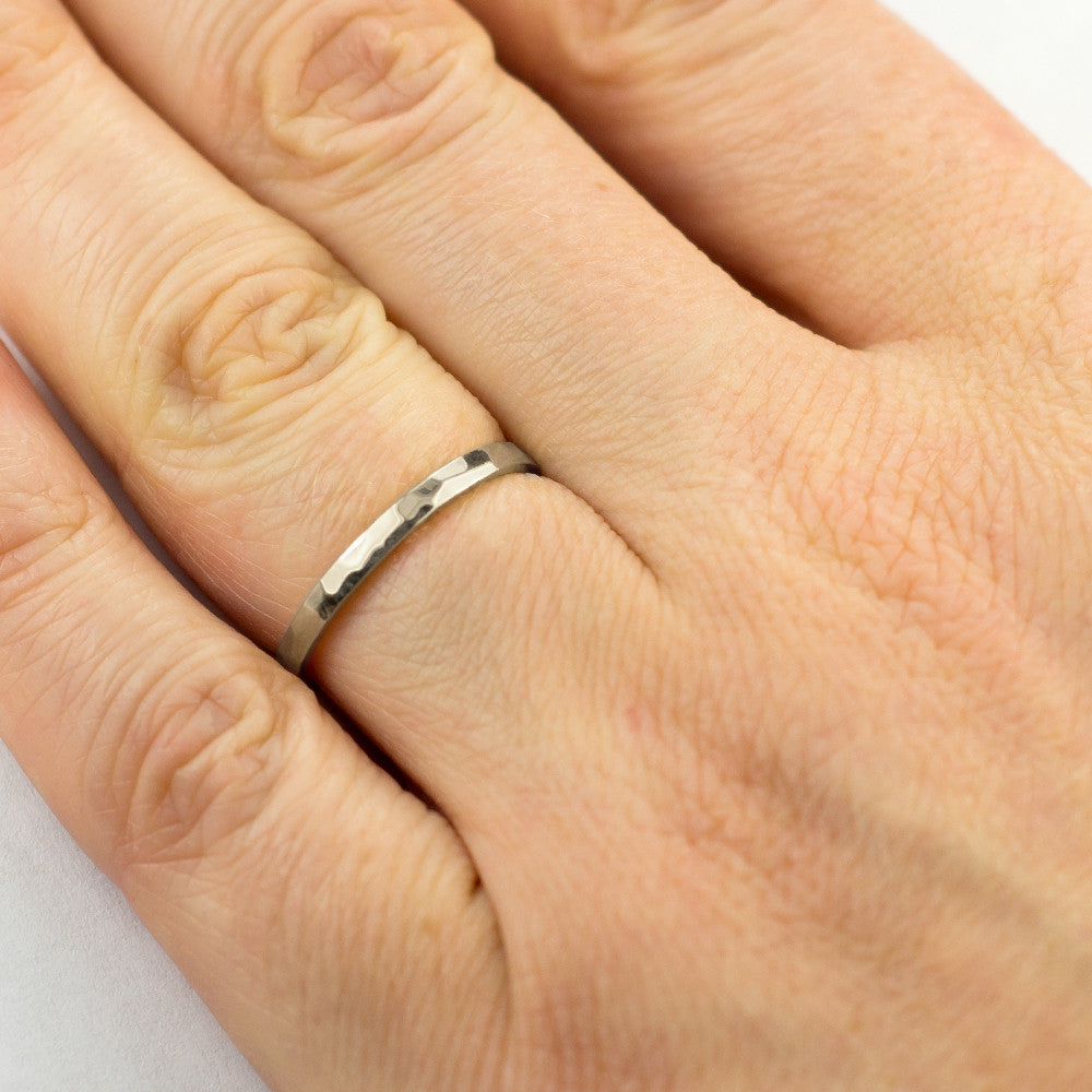 2mm Wide x 1.5 mm Thick,14k White Gold Rectangle Wedding Band, Hammered Polished - Point No Point Studio - 4