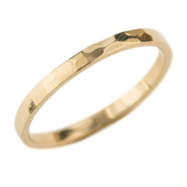 2mm Wide x 1.5mm Thick, 14k Yellow Gold Rectangle Wedding Band, Hammered Polished - Point No Point Studio - 1
