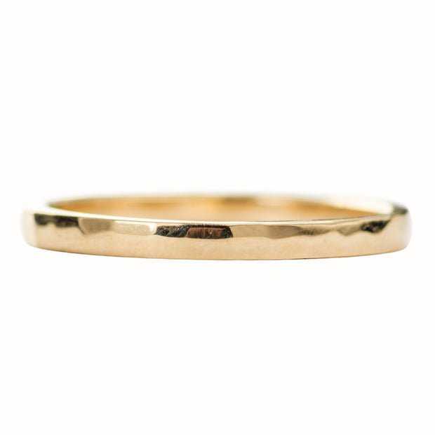 2mm Wide x 1.5mm Thick, 14k Yellow Gold Rectangle Wedding Band, Hammered Polished - Point No Point Studio - 3